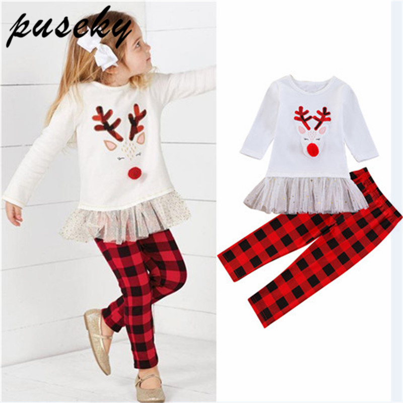9e2f50c8b9 Puseky Christmas Kids Toddler Baby Girl Long Sleeve Deer Tutu Mini Dress  Tops Plaid Dot Legging Pant 2PCS Xmas Clothes 2-7Y
