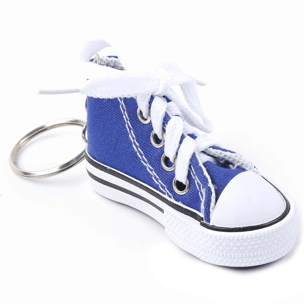 7 Colors Cute Mini Simulation Canvas Shoes Keyring Keychain For Women Girl Souvenir Gift Women Bag Key Holder Accessories