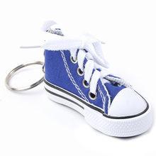 Bonito mini simulação sapatos de lona chaveiro para mulheres menina lembrança presente saco titular chave acessórios jóias
