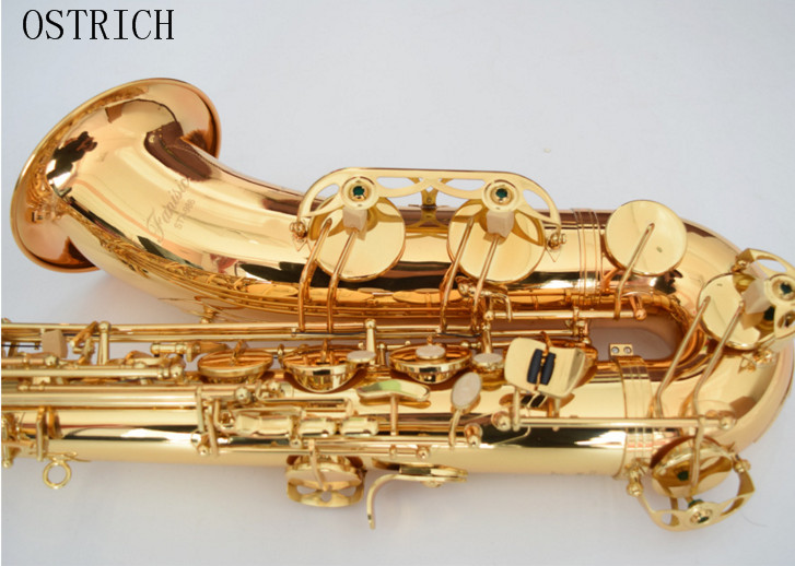 Brand New Ostrich Professional Gold Tenor Saxophone + CASE + MOUTHPIECE + NECK STRAP baritone saxophone mouthpiece ostrich gold plated metal saxophone mouthpiece cap