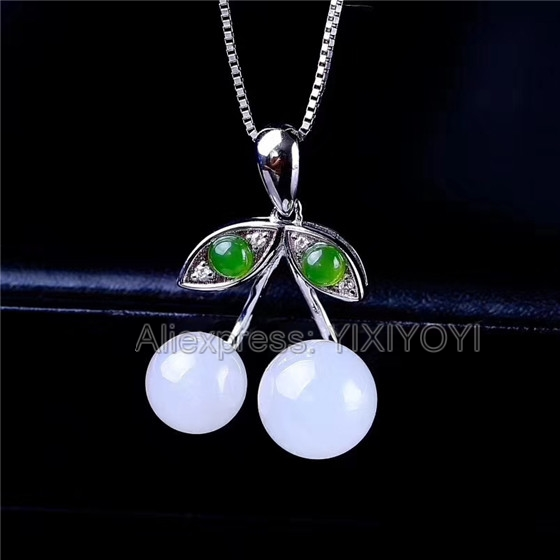 925 Sterling Silver White Green HeTian Jade Inlay Cute Fruit Design Lucky Pendant + Chain Necklace Charm Fine Jewelry Girl Gift925 Sterling Silver White Green HeTian Jade Inlay Cute Fruit Design Lucky Pendant + Chain Necklace Charm Fine Jewelry Girl Gift