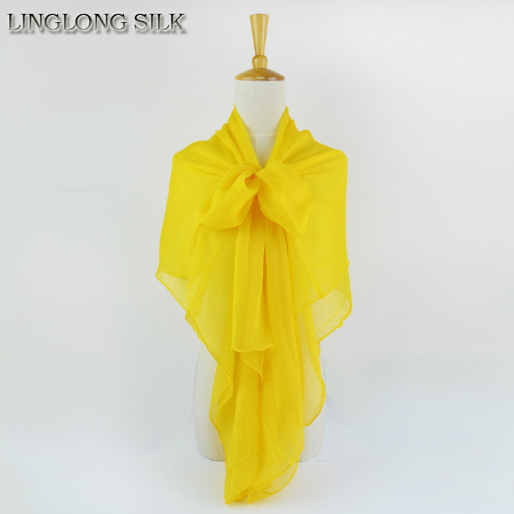 Жатый шелк жоржетовый длинный шарф 110 см X 180 см Чистый шелковый шарф женский однотонный цвет изделия из шифона в большом размере шарф