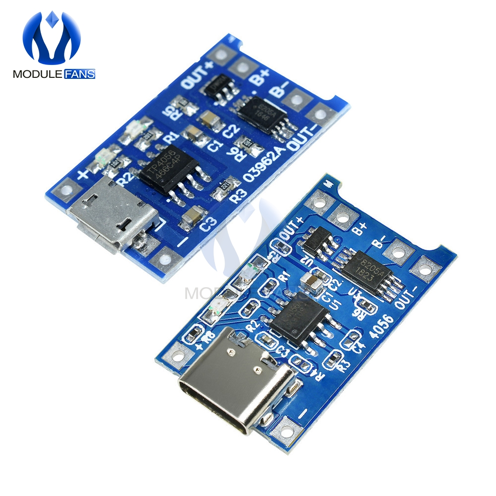10pcs Micro USB 5V 1A 18650 TP4056 Lithium Battery Charger Module Charging Board With Protection Dual Functions