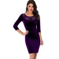 Hollow Out O Neck Dress Velvet Fabric Mini Short Elegant Dresses Women Sexy Clubwear 2017 Best