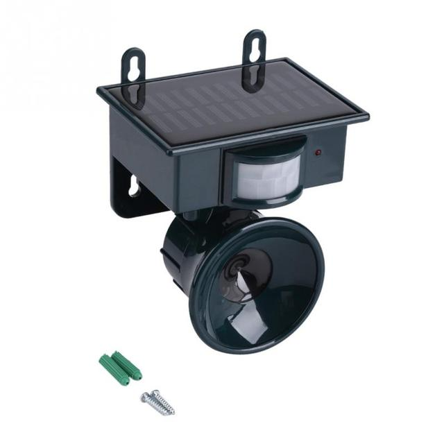 Elektroniczny ultradźwiękowy odstraszacz ptaków zasilany energią słoneczną czujnik ruchu PIR odstraszacz szkodników ptak pies kot mysz Chaser dla wiewiórki szczur