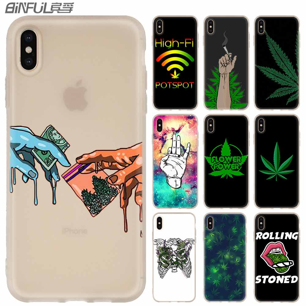 Silicone Soft Case FOR iPhone 11 Pro 2019 X XS Max XR For iPhone 5 5S SE 6S 6 4 4S 7 8 Plus Abstractionism Art High Weed 2020