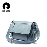 REALER Brand Fashion Women Genuine Leather Shoulder Bag Female Luxury Handbags Women High Quality Messenger Bags