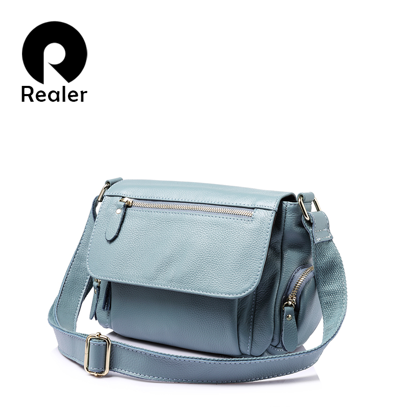 REALER brand women handbags genuine leather shoulder bag female luxury handbags women high quality messenger bags designer 2017 chispaulo women bags brand 2017 designer handbags high quality cowhide women s genuine leather handbags women messenger bag t235