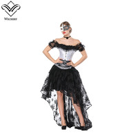 Wechery 2018 Lace Women Victorian Retro Skirts & Slimming Tops Steampunk Gothic Underbust Bustier with Black Floral Long Skirt