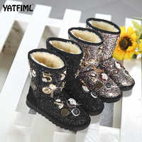 YATFIML bling girls winter boots snow boot for girls winter shoes dress shoes with fur kids toddler kids girls shoes
