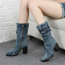 Europe 2016 new canvas shoes autumn and winter high-heeled boots rough with women's denim boots Martin boots blue Plus Size 42
