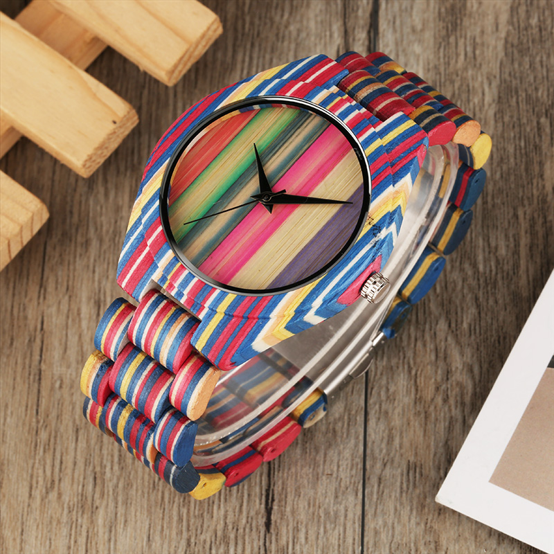 Lovers Gift Top Fashion Colorful Wooden Watch Men Clock Quartz Analog Adjustable Full Bamboo Wood Band Sport Watch for Men Women yisuya fashion nature wood wrist watch men analog sport bamboo black genuine leather band strap for men women gift relogio clock