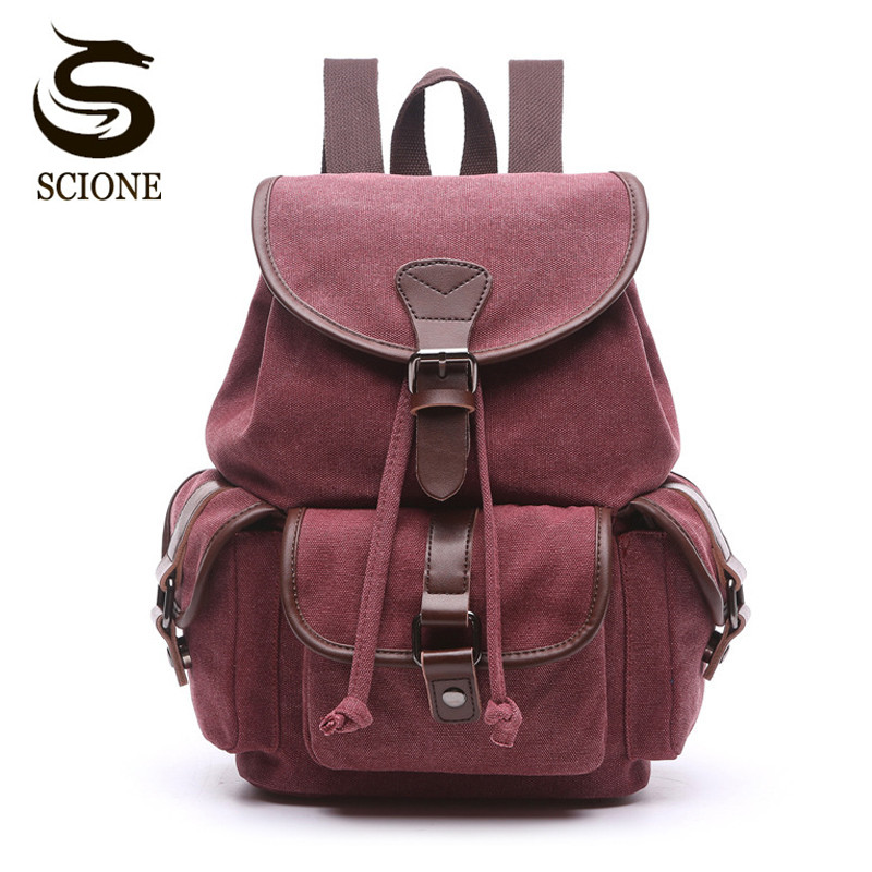 Scione Multifunction Canvas Backpack Drawstring Large Capacity Backpack Men Women Travel Rucksack School Shoulder Bag Mochila