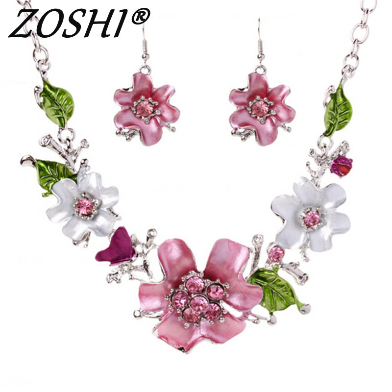 ZOSHI Vintage Turkish Jewelry Sets Enamel Flower Pendant Colar Silver Plate Princess Hooks Long Pendientes Necklace Earrings Set