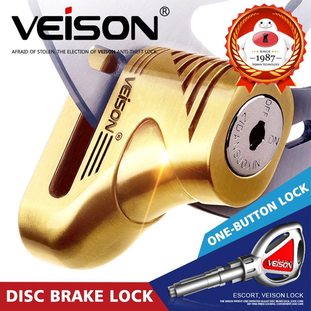 VEISON Moto Scooter Motorcycle Rotor Brakes Disc Lock 5mm Pin Motorbike/MTB Bicycle Theft Pretection Brake Lock+ Frame Pouch Etc