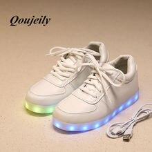 Qoujeily lumineuse загораются огнями chaussure люди femme случайные обуви взрослых кроссовки