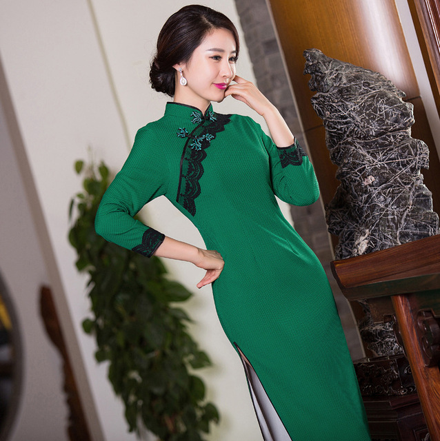 TIC-TEC women cheongsam long qipao chinese traditional dress oriental dresses vintage lace evening slim elegant clothes P2886