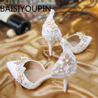 Women Crystal Shoes A Sharp Word Belt Small Size 33 High Heel Pearl Flower Bride Bridesmaid Princess Wedding Shoes Big Size