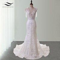 Long Train Elegant Spaghetti Strap Sexy Lace Wedding Dress Mermaid Bridal Dress Vestido De Noiva 2015