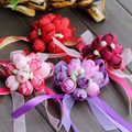 20 X Rosa Púrpura Rojo Borgoña Rose de Seda de Flores Ramillete Novio Del Padrino de boda Traje de Boda Accesorios Broche Decoración Boutonnieres