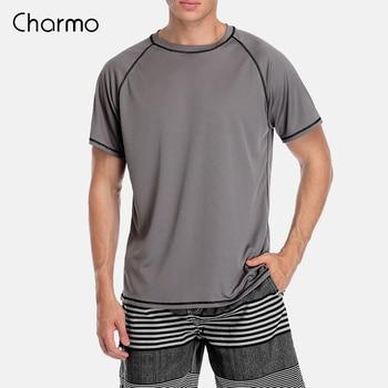 Charmo Men Rashguard Dry-Fit Short Shirt Diving Shirts Surf Rash Guards Top UPF 50+ Breathable T-Shirt Beach Wear