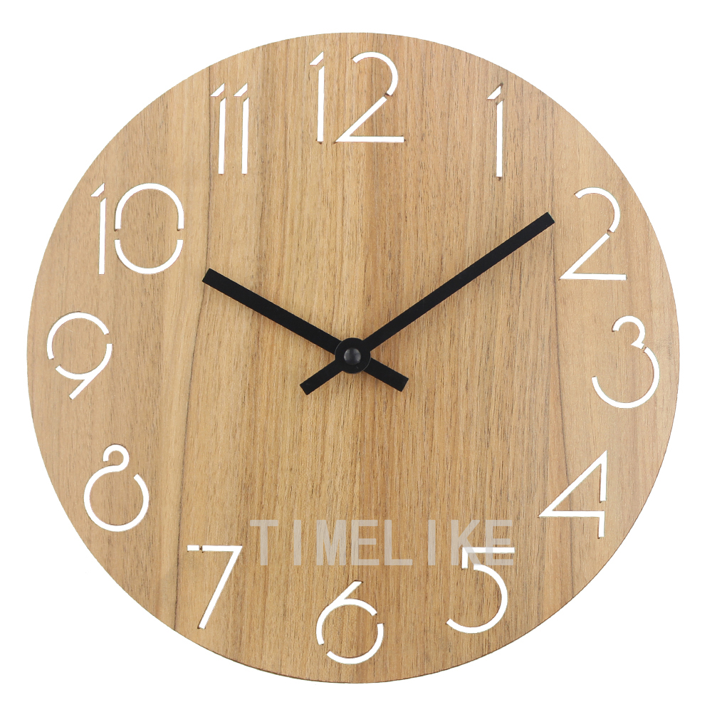 12 Inch Creative Digital Clock Round Wooden Decorative Clock Vintage Design Hollowed Arabic Numbers Solid Wood Wall Clock