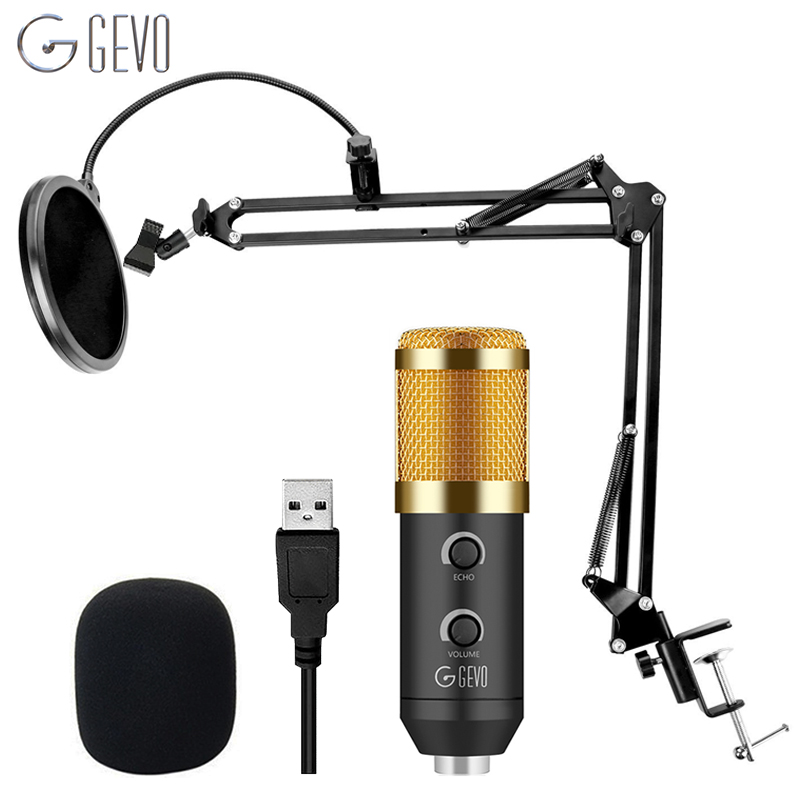 GEVO USB Condenser Recording Microphone For Computer Laptop MAC Or Windows Mic For PC Studio With Pop Filter Upgraded From Bm800