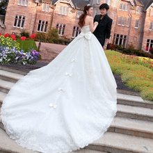 Wedding Dresses 2019 Luxurious Cathedral Train Bowknot Beading Crystal Gown Dress Elegant Robe de Mariage Custom Made