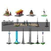 LOZ Mini Bouwstenen 3D Diamond Stad Speelgoed 190 stks Beroemde Architectuur Ostankino Toren Moskou Geassembleerd lock Collection Gift