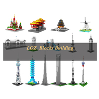 LOZ Mini Blocks Building 3D Diamond City Toys 190pcs Famous Architecture Ostankino Tower Moscow Assembled lock Collection Gift