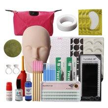 19 in 1 Training Eyelashes kit False Eyelash Extension Grafting Practice Curl Glue Tweezer Tools Set Bag For Eye Lash Graft