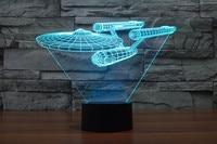 Creative 3D LED 7 Color Star Trek Warships Changing Visual Illusion Light Bedroom Light Action Figures
