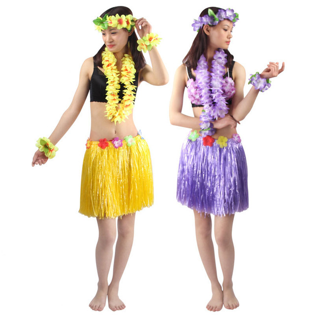 40cm 5pcs Set Encryption Thickening Women Hawaiian Hula Skirt Suit Lady Dance Grass Dress Hawaii