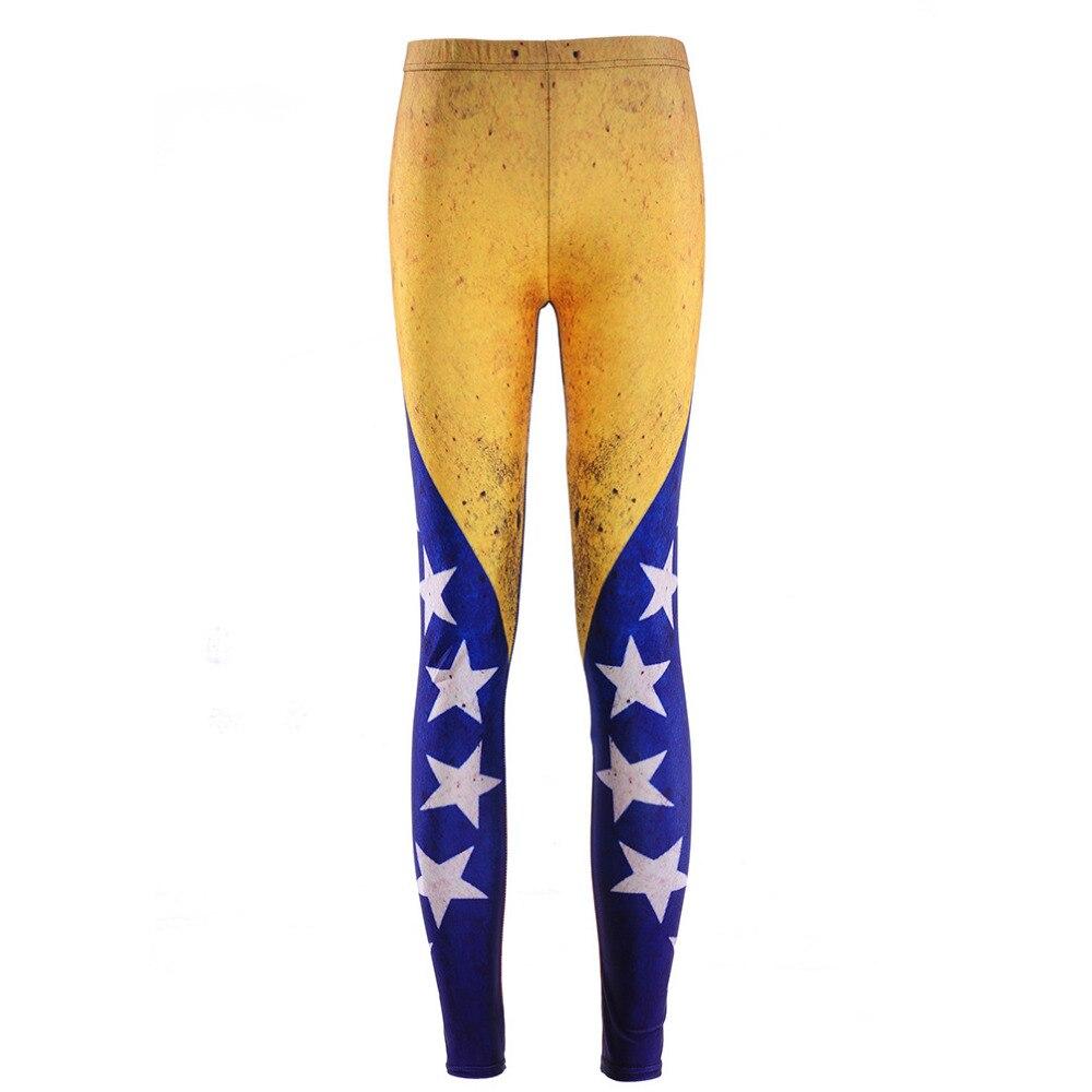 Fashion Women Leggings Galaxy Painted Flag Girls Leggings High Elastic Women Pants Drop Shipping