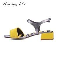 Krazing Pot Horsehair Stripe Shoes Women Square Heel Ankle Straps Sandals Handmade Preppy Style European Design