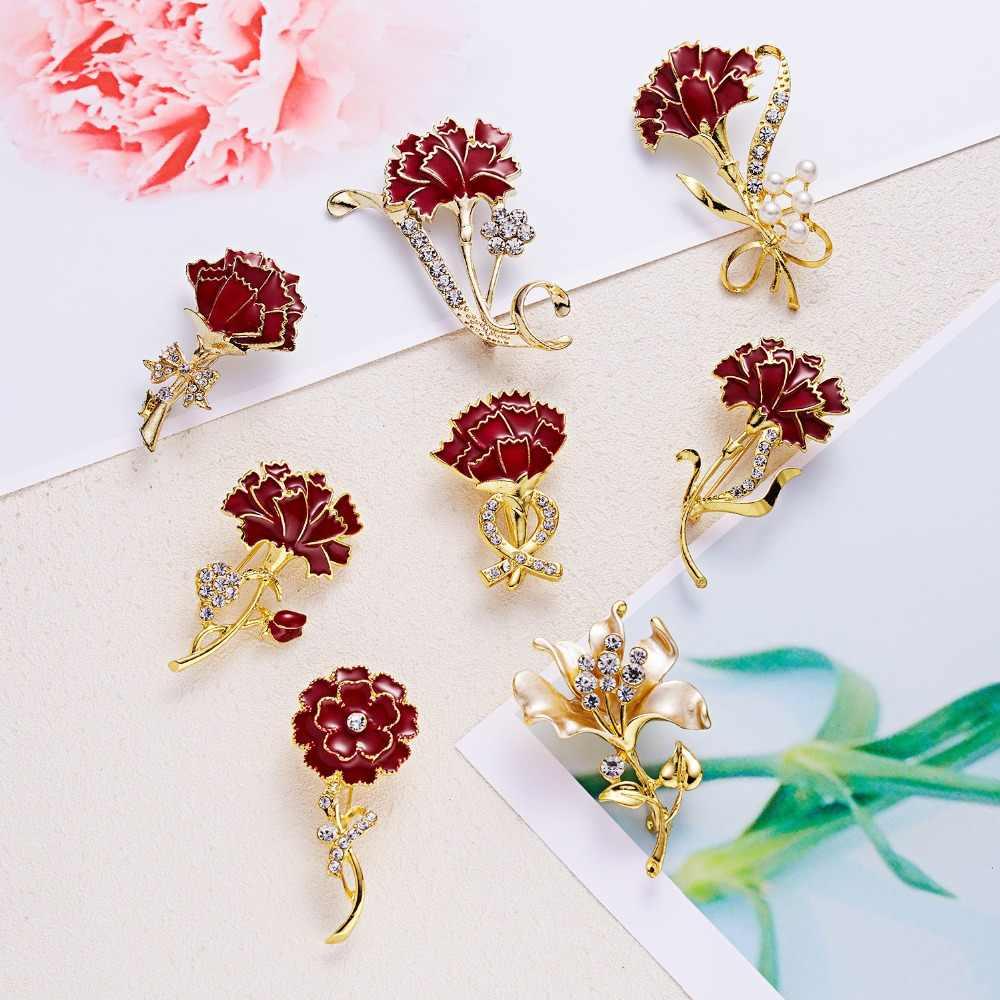 RINHOO Thời Trang Cẩm Chướng Thổ Cẩm Hoa Màu Đỏ Hoa Pha lê Cổ Ngày của Mẹ Tặng Bộ Trang Sức Cài áo dành cho Nữ