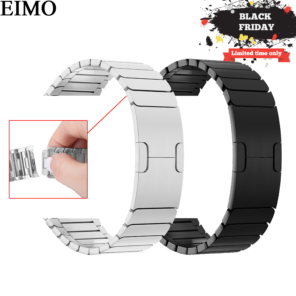 EIMO Strap for Apple Watch Band 42mm 44mm iwatch 4 3 2 1 40mm 38mm Stainless Steel Link Bracelet Wrist Watchband Removable Bands цена