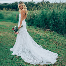 Eightree Chapel Train Mermaid Wedding Dress 2019  Lace White Backless Bridal Deep V Neck vestido de casamento Gown