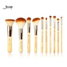 Jessup Brand 10pcs Beauty Bamboo Professional Makeup Brushes Set Make up Brush Tools kit Foundation Powder Buffer Cheek Shader