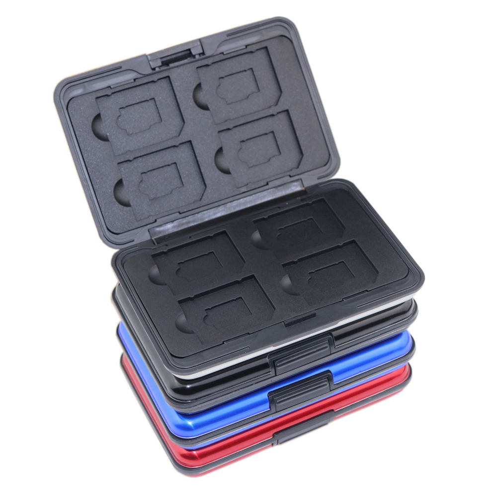 Portable Aluminum Micro SD SD SDHC SDXC TF Memory Card Carrying Case Holder Organizer Box 16 Slots For Camera Media Storage 3
