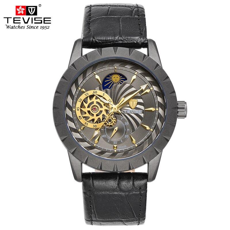 Militar TEVISE Tourbillon Fase Da Lua Mecânico de Couro Preto Relógio Automático Dos Homens de Negócios de Esqueleto Relógio de Pulso Erkek Kol Saati