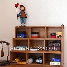 Zakka madera maciza vintage retro escritorio acabado casilleros caja de almacenamiento 9 vitrina pared 2