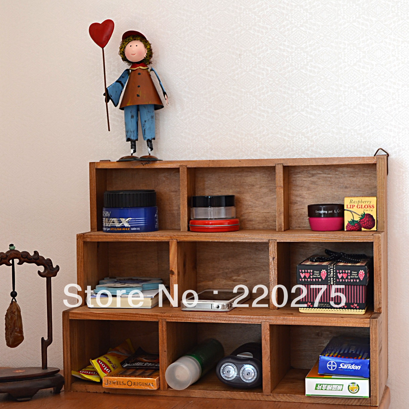 Zakka solid wood vintage retro desktop finishing lockers storage box 9 display cabinet wall 2 ...