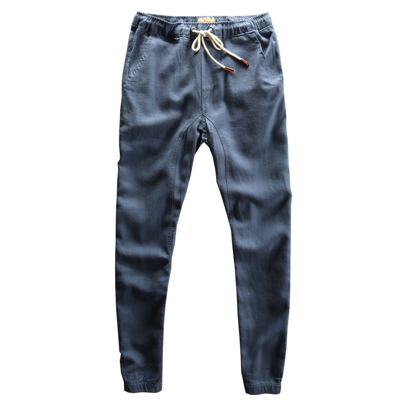 2018 Limited Real Harem Pants Loose Mid Full Length Sweatpants Men Waist Pants Mens Trousers Breathless Thin Linen Young Wear