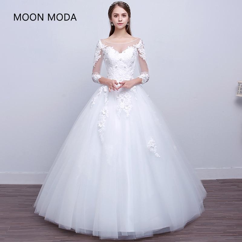 Lace Princess Wedding Dress 2019 Long Sleeve Bride Dress Plus Size Ball Gown Wedding Gown Elegant A Line Vestido De Novia