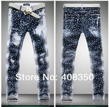 2016 Fashion Men/Women Galaxy Stars Print Brand Designer Casual Straight Blue Jeans Pant, Quality New Cool Night Club Jeans