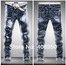 2017 мужская мода/женщины galaxy звезды печати марка дизайнер повседневная прямые джинсы брюки, качество Новый Прохладный Ночной Клуб Джинсы