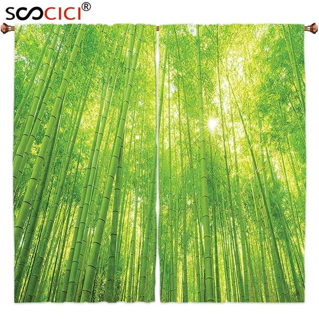 Window Curtains Treatments 2 Panels,Bamboo Decor Image Of Bamboo Trees With  Sunlight In Rainforest