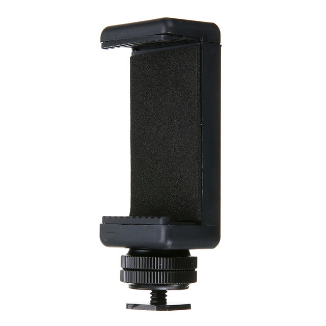 Mayitr High Quality 1/4″ Phone Clip Holder + Black Hot Shoe Adapter Mount for DSLR Camera 58 to 88mm Cell Phone