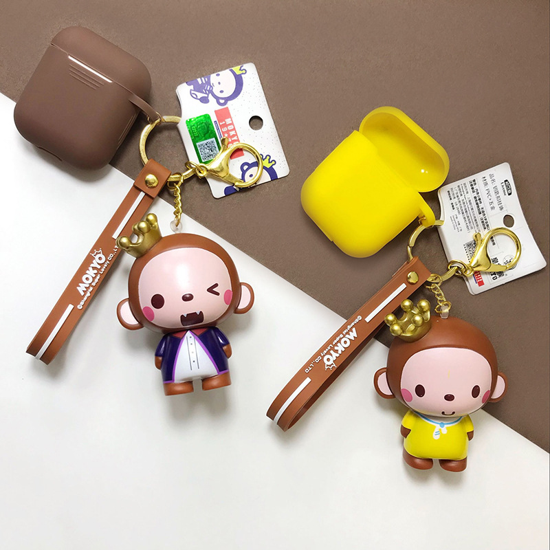 Cartoon Crown Monkey Doll Keychain pvc Animal Keyring Wireless Bluetooth Earphone Case for Airpods Protective Cover
